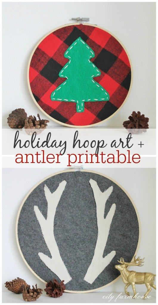 Holiday Hoop Art & Antler Printable