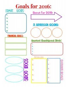 Free Printable- Goals for 2016