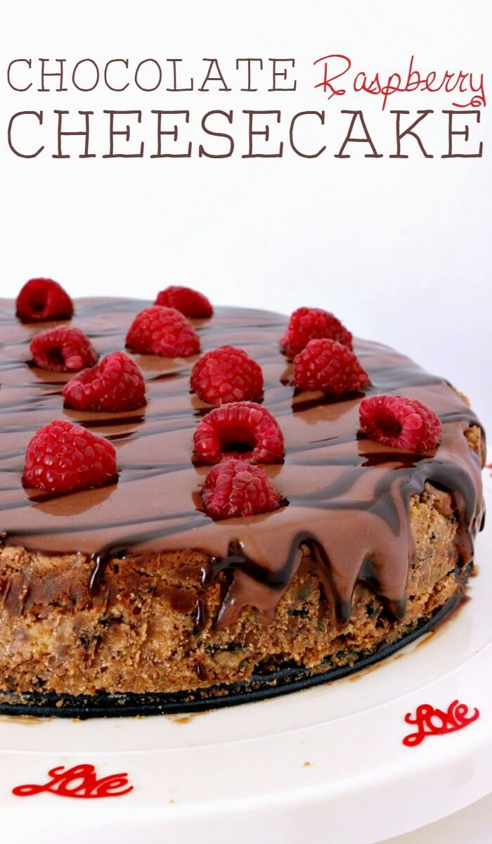 Chocolate raspberry cheesecake is the perfect choice for a stay-at-home dessert-only date night. Who wants to go trekking out into the snow on Valentine's Day, anyway? || via growingupgabel.com #valentinesday #chocolate #raspberry #cheesecake
