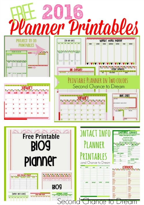 Second Chance to Dream: Free 2016 Planner Printables