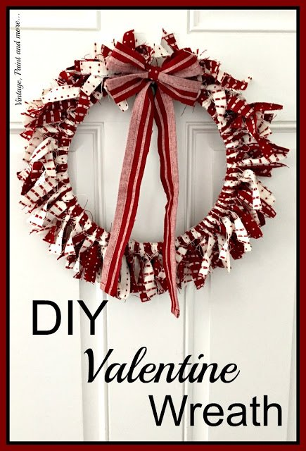 a wreath made from an embroidery hoop and strips of fabric for Valentine decor