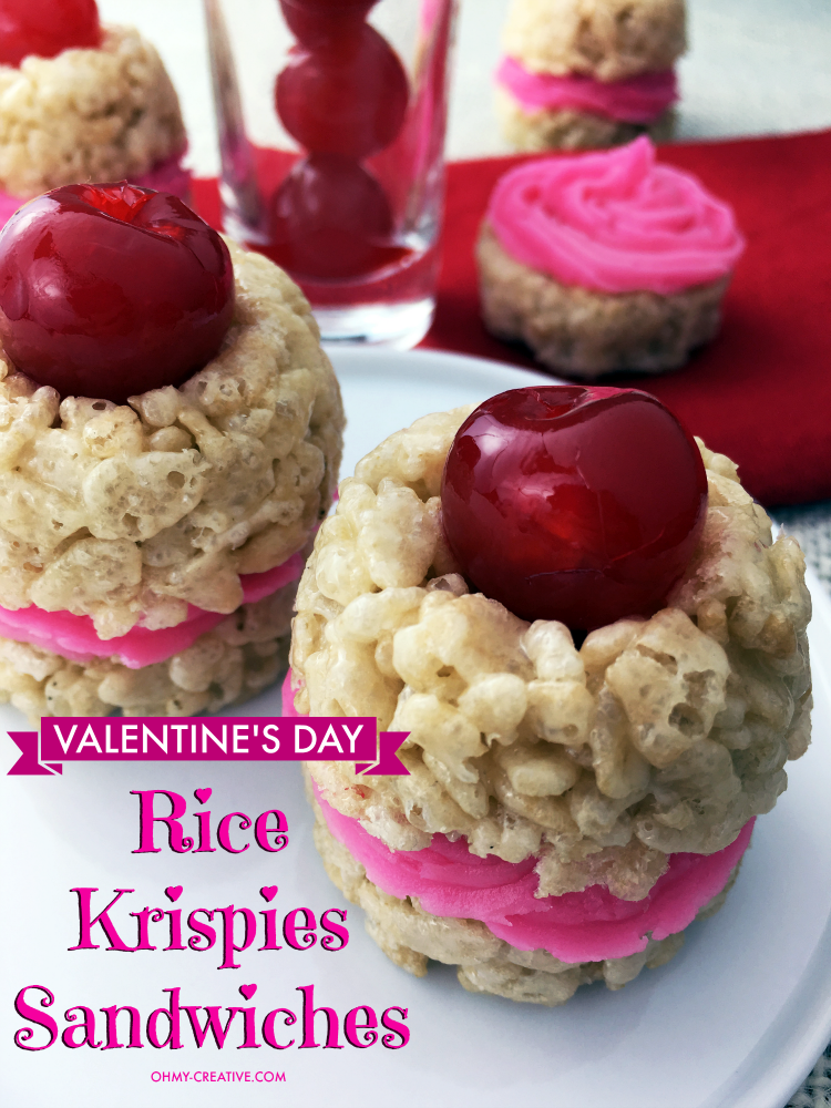 Valentine's Day Rice Krispie Treat Sandwiches - easy to make and sweet to eat! | OHMY-CREATIVE.COM