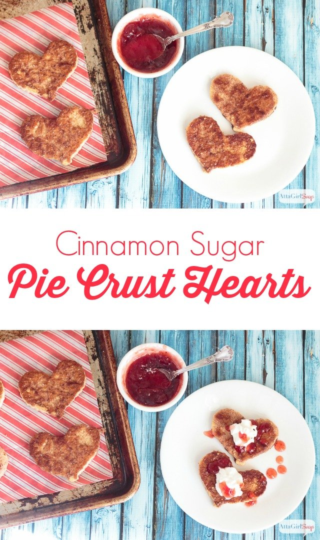 Treat your Valentine to one of these easy pie crust cinnamon sugar hearts. They're a great dessert on their own or you can use them to add a romantic touch to ice cream, pie or mousse.