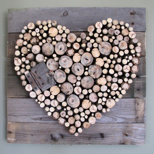 Pallet wood and sticks Valentines Heart diy