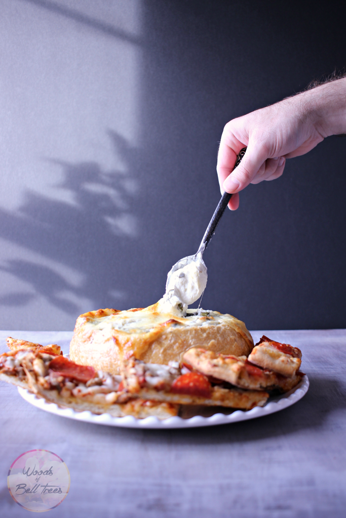 Serve your Red Baron pizza with a spinach artichoke pizza dip for the big game!