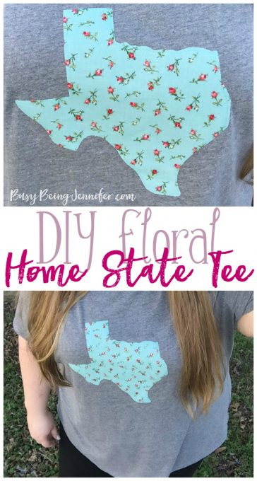 DIY Floral Home State Tee - BusyBeingJennifer.com
