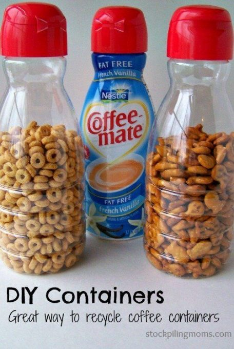 Road trip hack: turn empty coffee creamer bottles into spill-proof snack containers: