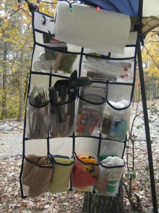 Shoe Organizer turned Outdoor Kitchen Organizer