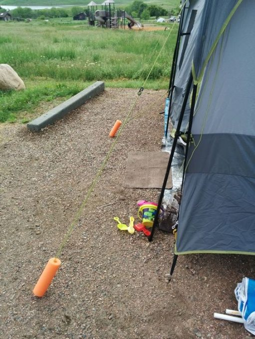 Our favorite camping hack! Pool noodles used to mark tent lines... there was no tripping!: