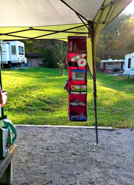 Use a Hanging Organizer for Camping Trips! Awesome Camping Ideas, Gear, Tips, & Tricks!