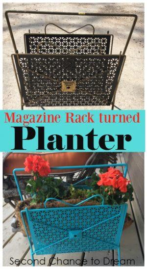 Upcycled Magazine Rack Turned Planter
