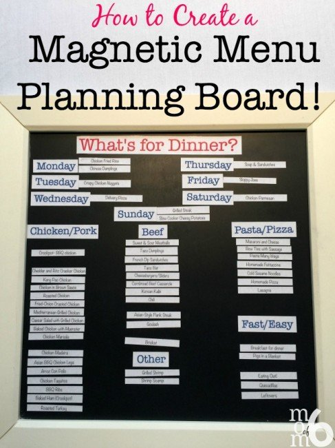 "To answer the question, ""What's for dinner?"", I have been using a magnetic menu planning board for years now. I love how it makes the actual menu planning process so simple- all I have to do to pick and choose family dinners from my previously prepared list, and just move them into their daily spot."