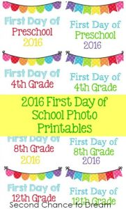 2016 First Day of School Printables (Pre-12)
