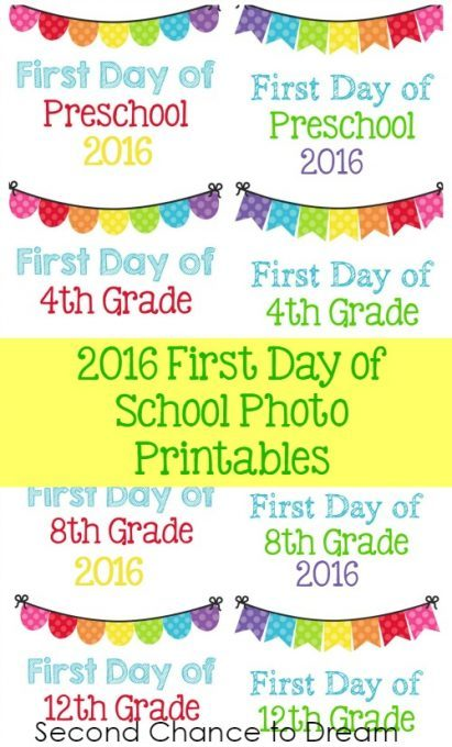 Second Chance to Dream: 2016 First Day of School Printables #backtoschool