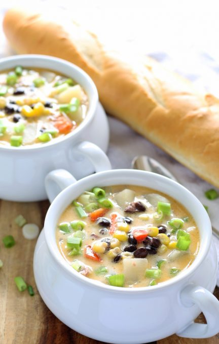 Black bean corn chowder recipe is the perfect fall soup. If you're looking for an easy corn chowder recipe with bacon, this is the one! Great use for fresh corn or leftover corn cobs. | honeyandbirch.com