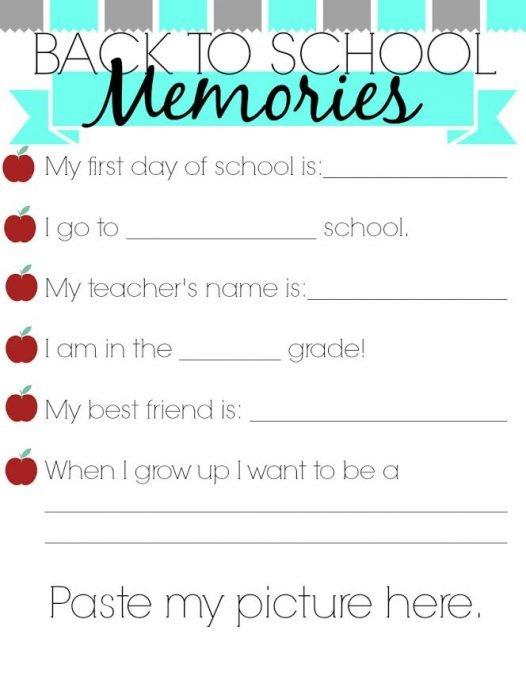 Back to School Memories Printable