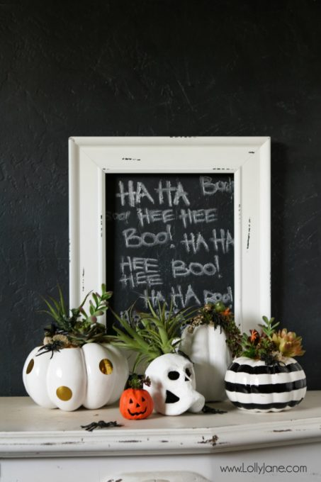 DIY Halloween Pumpkin Succulent Planters. FAUX pumpkins + succulents, low maintenance and hassle free on your mantel or porch! CUTE!!!