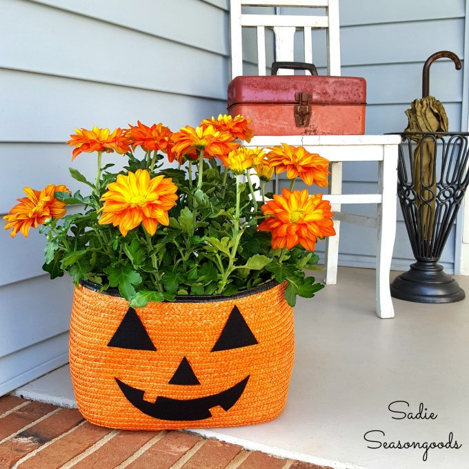 Mums the Word: Straw Tote Pumpkin Planter