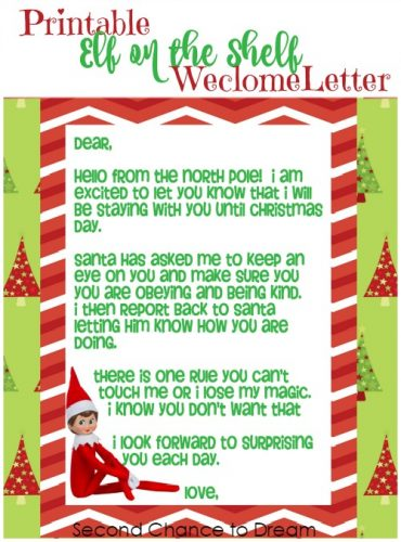 Second Chance to Dream: Printable Elf on the Shelf Welcome Letter