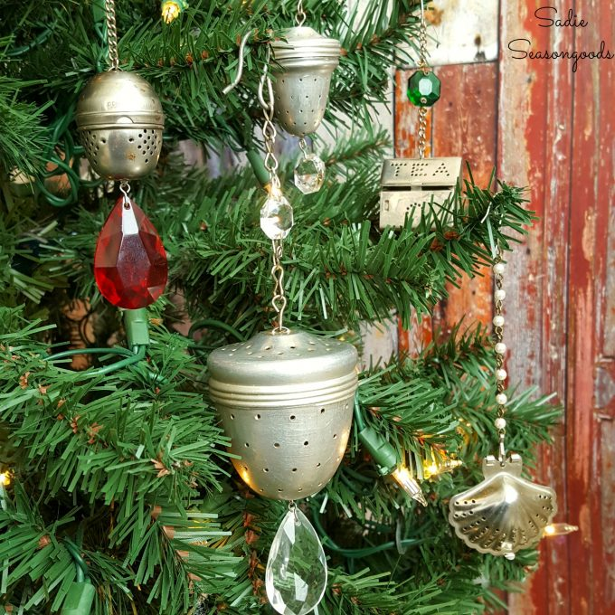 Christmas Ornaments using Vintage Tea Strainers and Chandelier Crystals