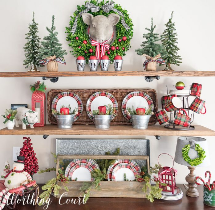 Rustic shelves decorated for Christmas using plaid dishes    Worthing Court