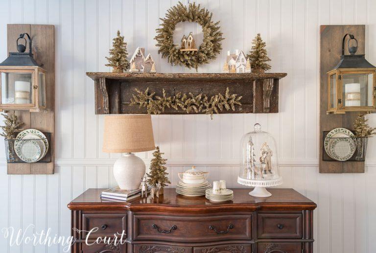 Christmas farmhouse sideboard and vintage shelf    Worthing Court