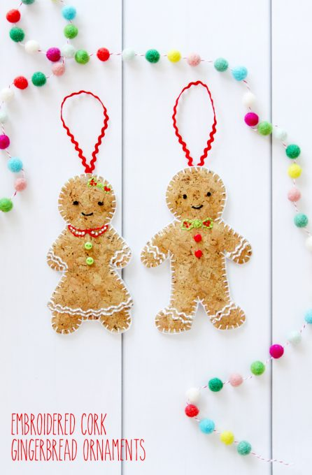 Embroidered Cork Gingerbread Ornaments - these are so cute!