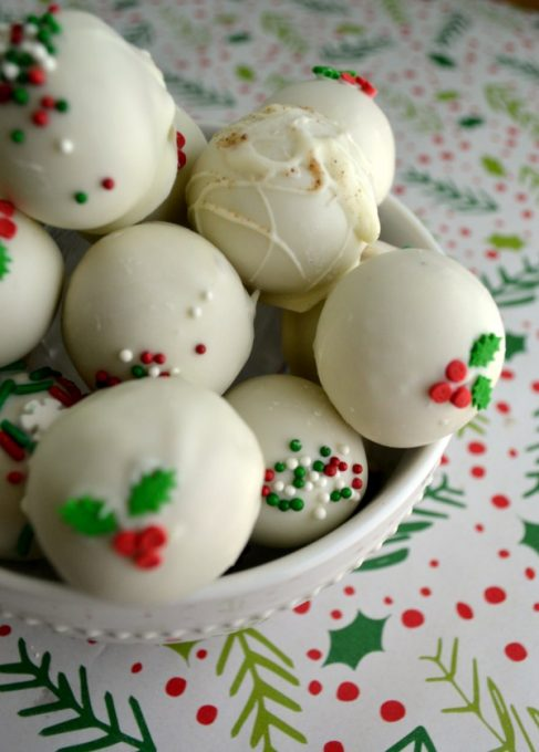 These eggnog latte truffles are the perfect addition to your holiday baking this year - creamy, simple, and packed with the flavor of the perfect holiday red cup drink!