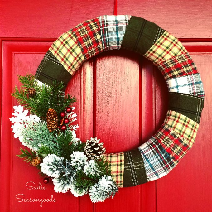 Cozy Door Décor: Wrapped Flannel Holiday Wreath