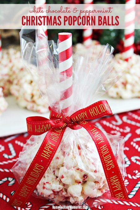 White Chocolate & Peppermint Christmas Popcorn Balls Recipe