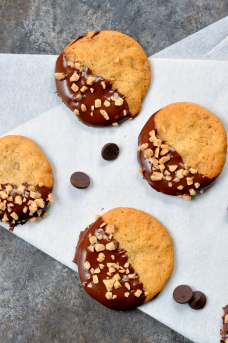 Chocolate Dipped Toffee Walnut Cookies