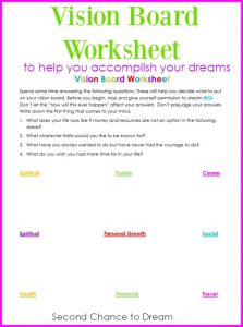 Vision Board Worksheet to help you define your dreams