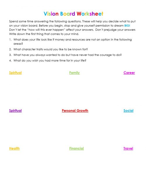 Second Chance to Dream: Vision Board Worksheet #dreams #visionboard