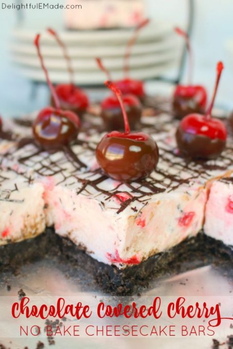No bake cheesecake bars don't get better than this! Made with an OREO crust, a creamy no bake cherry cheesecake filling, and topped with a chocolate drizzle and chocolate dipped cherries, these bars are incredible. Easy to make, and completely delicious!
