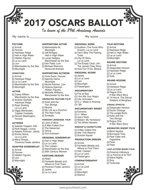 graphic regarding Oscar Printable Ballots known as Minute Likelihood Toward Aspiration - 2017 Oscars Bash Developing Marketing consultant