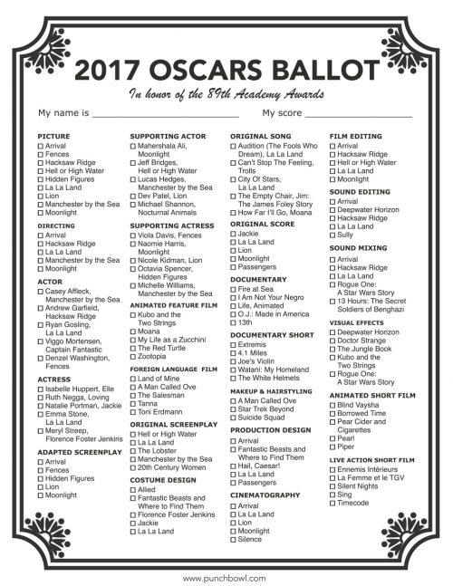 graphic regarding Oscar Printable Ballots known as Minute Likelihood Toward Aspiration - 2017 Oscars Bash Developing Marketing consultant