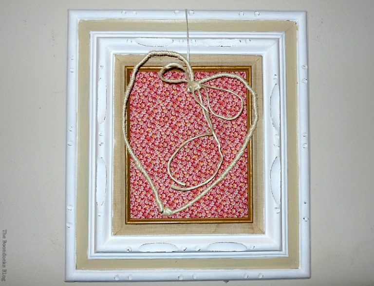 adding a white ribbon to hang the heart, Valentine's Day Framed Heart Craft - Int'l Bloggers Club theboondocksblog.com