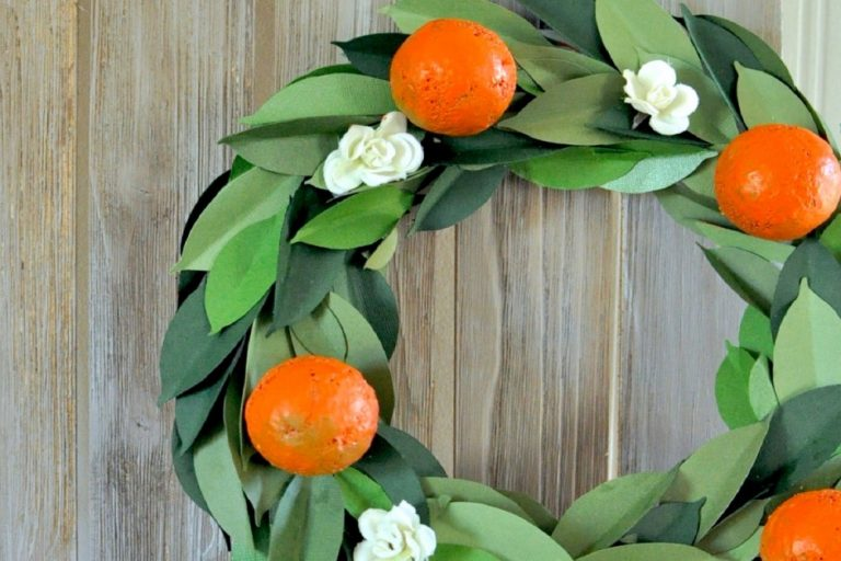 Make a faux orange floral wreath