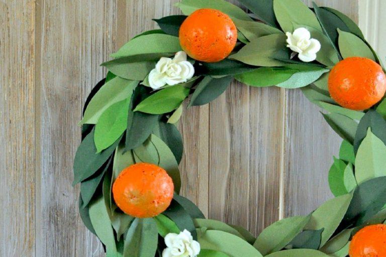Make a faux orange floral wreath