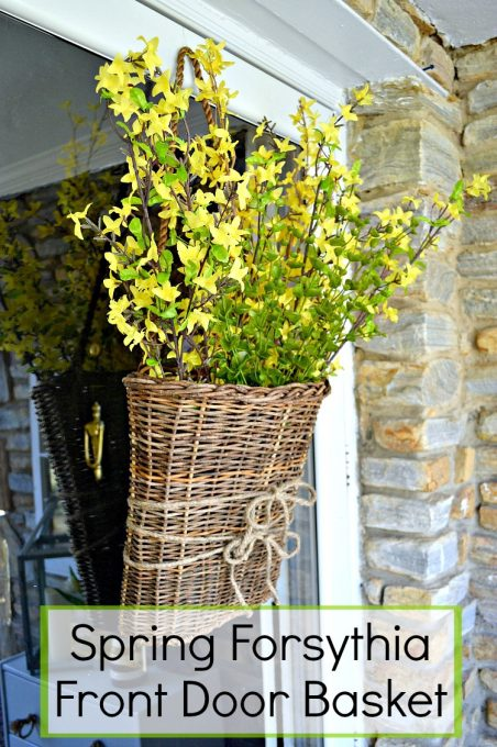 Wow! This cute spring front door basket, made from bunches of faux forsythia, is so pretty and it's a super easy DIY craft project. It just took minutes to do   Chatfield Court