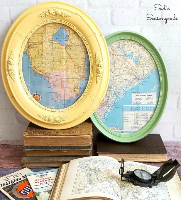 Round Trip: Oval-Framed Vintage Road Maps