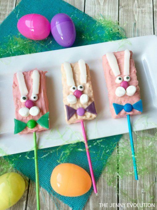 Bunny Easter Rice Krispie Treats - Treat Pops on a Stick