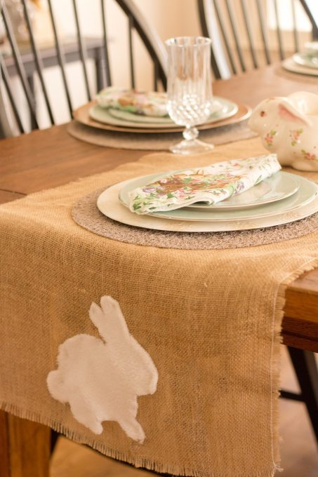 Easy Bunny Table Runner Made With Burlap
