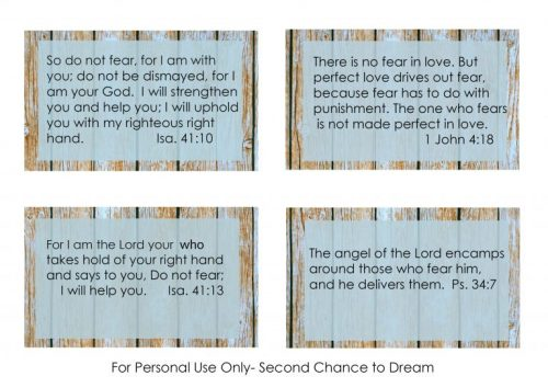 Second Chance to Dream: Printable Fear Scripture Cards These cards are perfect to put in your purse or car for those times fear creeps up on you. #FEAR #Biblestudy