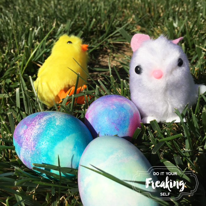 Shaving Cream Marbled Easter Eggs and toddler sensory play