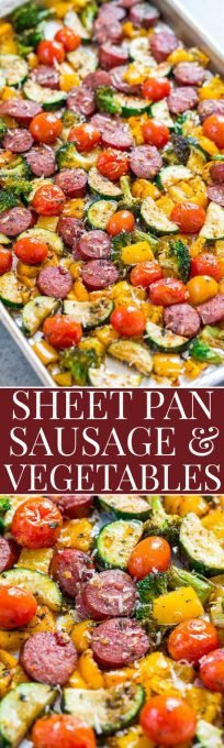 Sheet Pan Sausage and Vegetables - Fast, EASY, one pan recipe that's full of FLAVOR!! Juicy sausage, lots of veggies, and a dusting of Parmesan cheese to finish it off! Put it into your regular rotation!!: