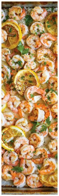 Sheet Pan Garlic Butter Shrimp ~ A complete sheet pan dinner with only 5 ingredients. YES! JUST 5!!! Plus, who can resist that garlic butter sauce, right?: