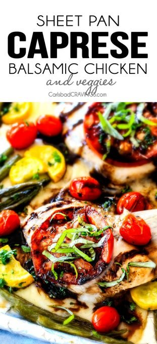 Sheet Pan Caprese Balsamic Chicken and Veggies - an easy, satisfying meal all in one! Wonderfully juicy, flavor bursting chicken smothered in gooey mozzarella cheese with fresh basil and the most incredible balsamic reduction!