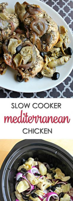 Slow Cooker Mediterranean Chicken - this quick recipe has all of your favorite flavors in one pot. It's one of my family's favorite crock pot recipes for chicken