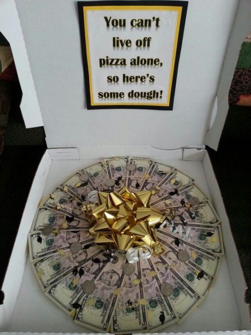 Money pizza I made for my sons graduation. Very easy to make: